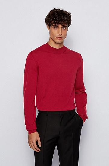 羊毛混纺圆领毛衣,  609_暗红色