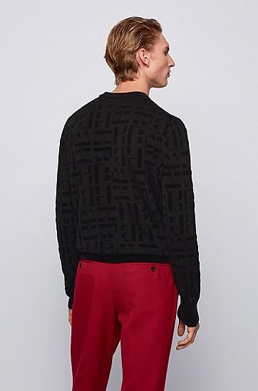 JUSTIN TEODORO系列提花针织字母图案圆领毛衣,  001_黑色