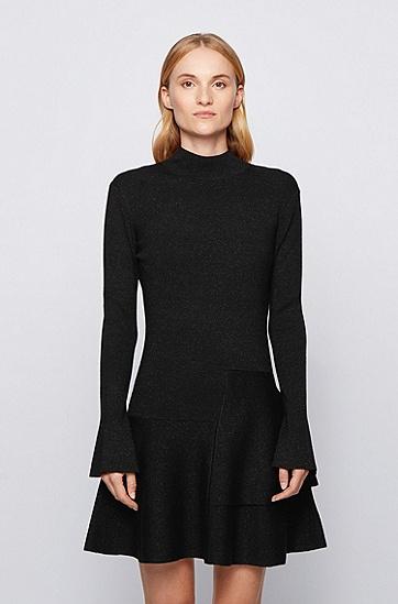 亮丝羊毛混纺沙漏式针织连衣裙,  001_黑色