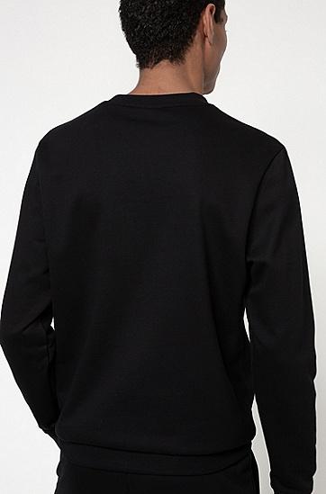 新季徽标刺绣法式毛圈棉布运动衫,  002_黑色