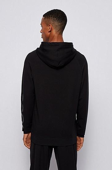 衣袖上带徽标的连帽家居运动衫,  001_黑色