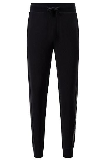 带徽标装饰的莱赛尔混纺家居长裤,  001_黑色