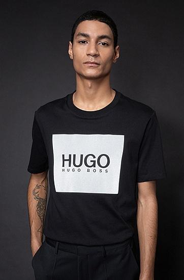 反光徽标印花棉质圆领 T 恤,  001_黑色