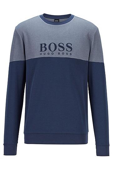 棉质混纺珠地布徽标家居便服运动衫,  402_暗蓝色