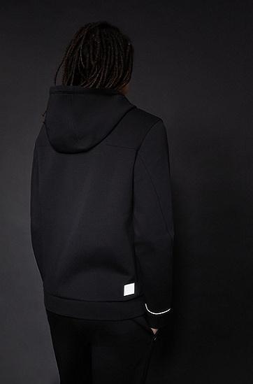 棉混纺反光饰边拉链连帽衫,  001_黑色