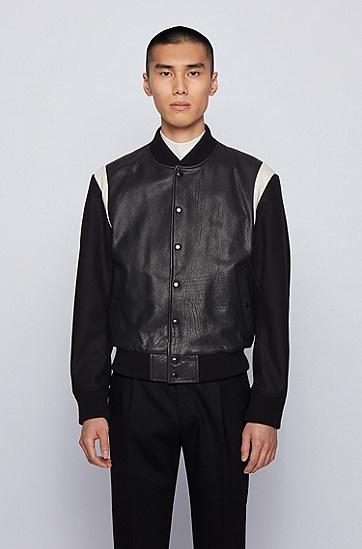 JUSTIN TEODORO系列星形男士皮衣,  001_黑色