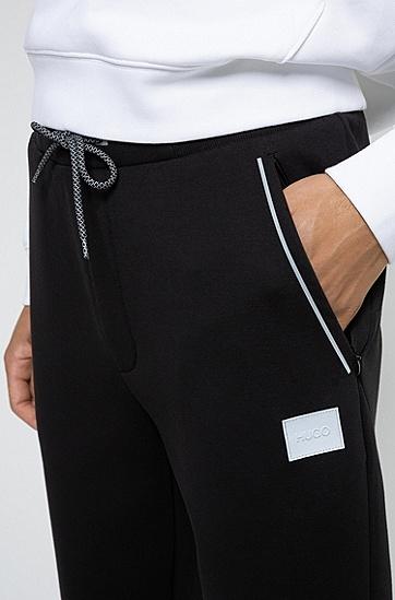 弹力面料反光饰边慢跑裤,  001_黑色