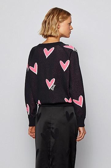 饰以心形提花图案的宽松版棉质混纺毛衣,  960_多色