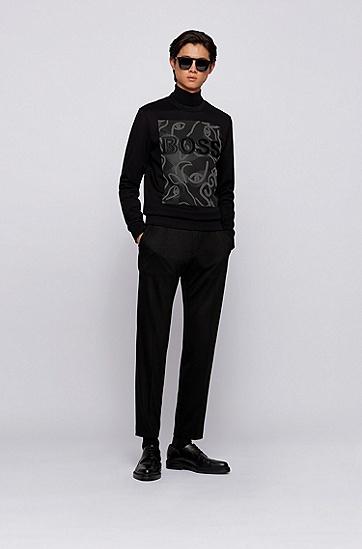 饰以牛头艺术图案法国毛圈布徽标运动衫,  001_黑色