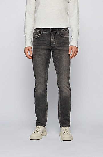 黑色修身针织弹力牛仔裤,  017_炭黑色