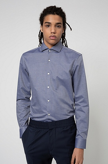 纹理棉质修身宽角领衬衫,  413_海军蓝色