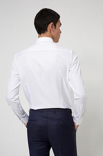 纹理棉质修身衬衫,  199_淡白色