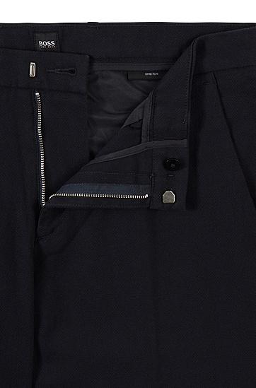 结构纹理弹力棉修身休闲裤,  402_暗蓝色