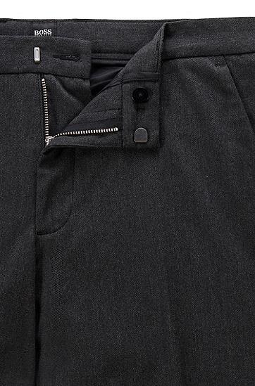 双色弹力斜纹布修身休闲裤,  001_黑色