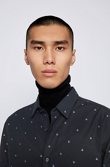 Justin Teodoro 联名胶囊系列饰以星形图案的修身意大利棉质衬衫,  001_黑色