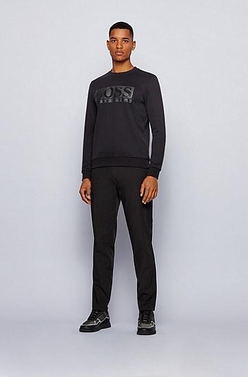 徽标装饰棉混纺圆领卫衣,  001_黑色