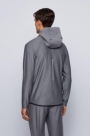反光元素连帽拉链毛衣,  031_中灰色