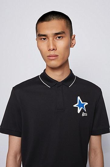 饰以星形和徽标图案的丝光棉面料 Polo 衫,  001_黑色