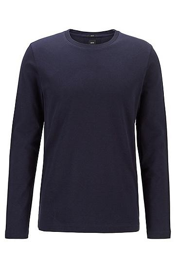 交织字母提花图案棉质长袖 T 恤,  402_暗蓝色
