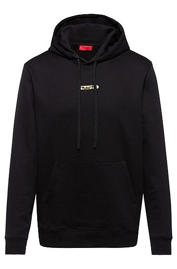 新季徽标刺绣法式毛圈布连帽衫,  002_黑色