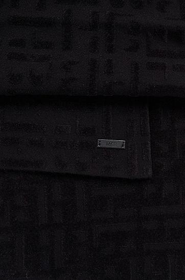 同色系交织字母图案混纺纱围巾,  001_黑色