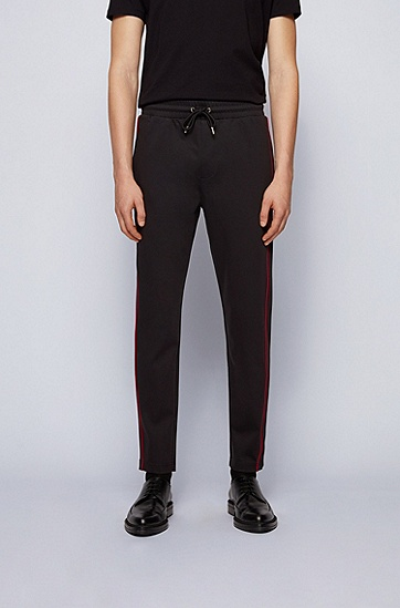侧边条纹休闲针织长裤,  001_黑色