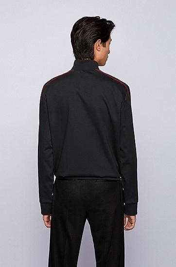饰以红色滚边的带拉链棉质混纺运动衫,  001_黑色