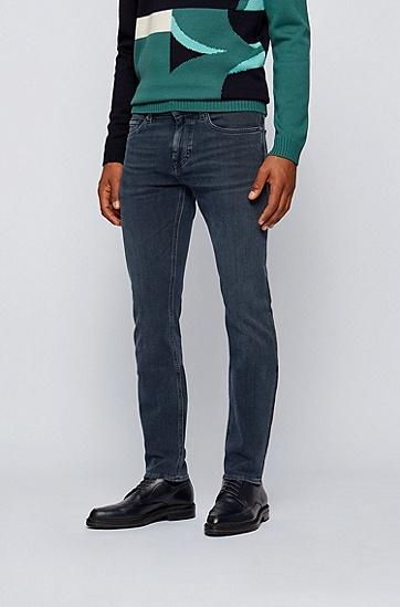 柔软黑色弹力牛仔布修身牛仔裤,  015_炭黑色