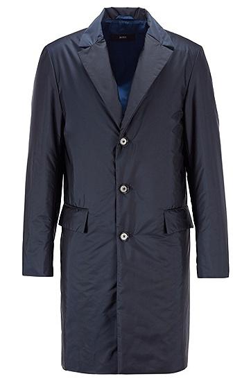 防水饰面交织字母图案修身外套,  402_暗蓝色
