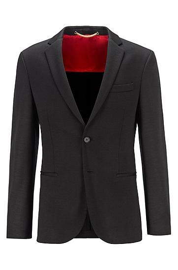 混色初剪羊毛修身夹克,  001_黑色