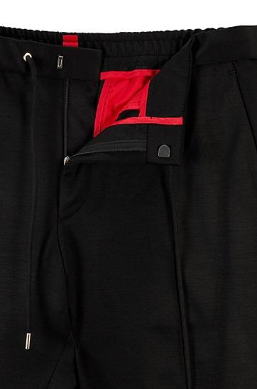 混色初剪羊毛修身长裤,  001_黑色
