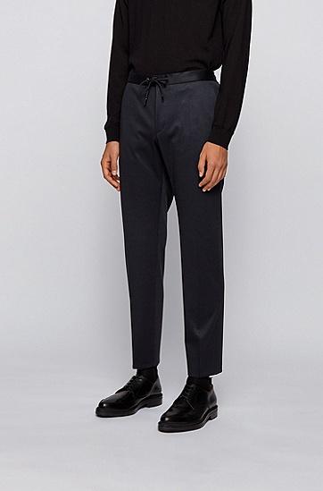 微图案弹力面料修身长裤,  402_暗蓝色