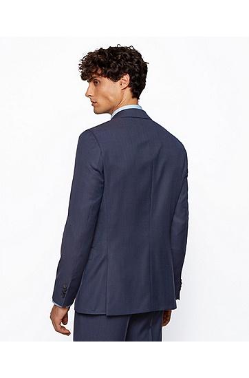 微图案初剪羊毛修身西装,  402_暗蓝色
