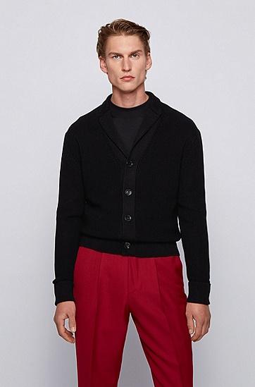 青果领罗纹开衫,  001_黑色