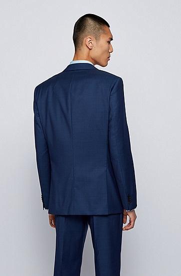 微图案初剪羊毛修身三件套西装,  402_暗蓝色