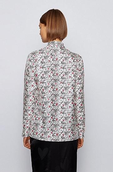 心形印花纯真丝领结女士衬衫,  962_多色