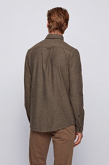 拉绒人字纹棉质修身衬衫,  001_黑色