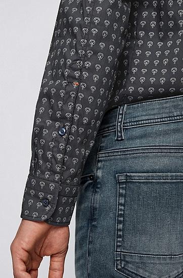 弹力府绸图案装饰修身衬衫,  405_暗蓝色