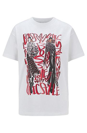 系列主题艺术印花圆领丝光棉 T 恤,  108_天然色