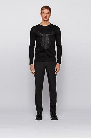 牛头艺术风图案丝光棉修身 T 恤,  001_黑色