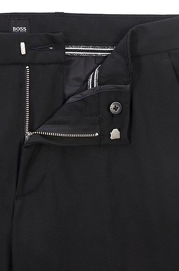 带拉链口袋的修身版弹力法拉绒休闲裤,  001_黑色