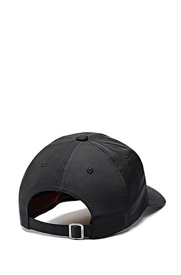 反光徽标饰片尼龙斜纹布鸭舌帽,  001_黑色