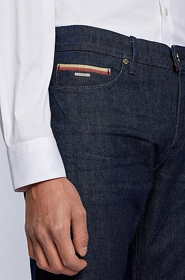 深蓝色意大利弹力牛仔布修身牛仔裤,  410_海军蓝色