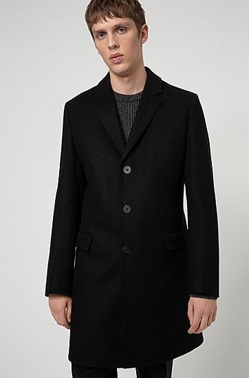初剪羊毛混纺修身外套,  001_黑色