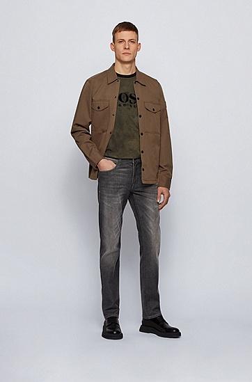 弹性水洗黑色修身牛仔裤,  025_暗灰色