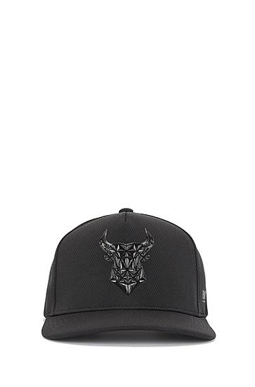 牛头图案蜂窝平纹面料鸭舌帽,  001_黑色
