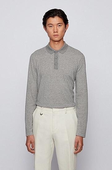 泡泡结构长袖 Polo 衫,  030_中灰色