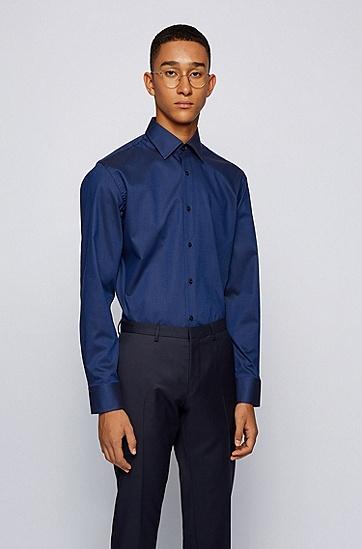 结构纹理易熨烫棉质修身衬衫,  464_淡蓝色