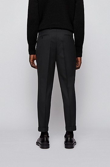 微结构面料大廓型长裤,  001_黑色