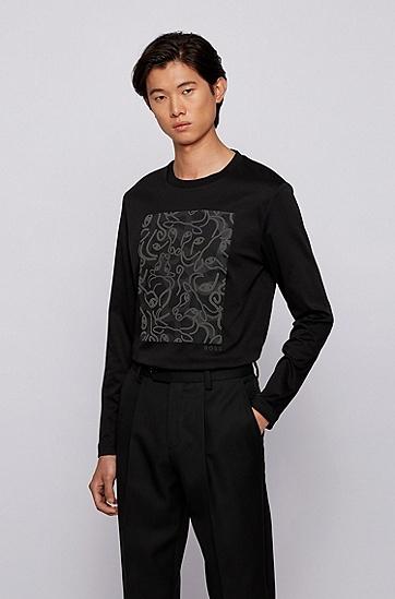 饰以牛头艺术图案的长袖修身 T 恤,  001_黑色